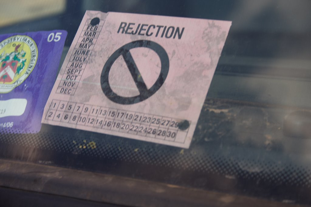 Massachusetts car inspection rejection sticker 12
