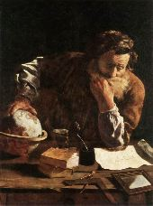 The Scholar by Domenico Feti (b. ca. 1589, Roma, d. 1623, Venezia)