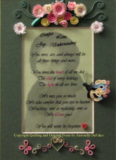 quilled memorial frame Quilled Memorial Frame poem
