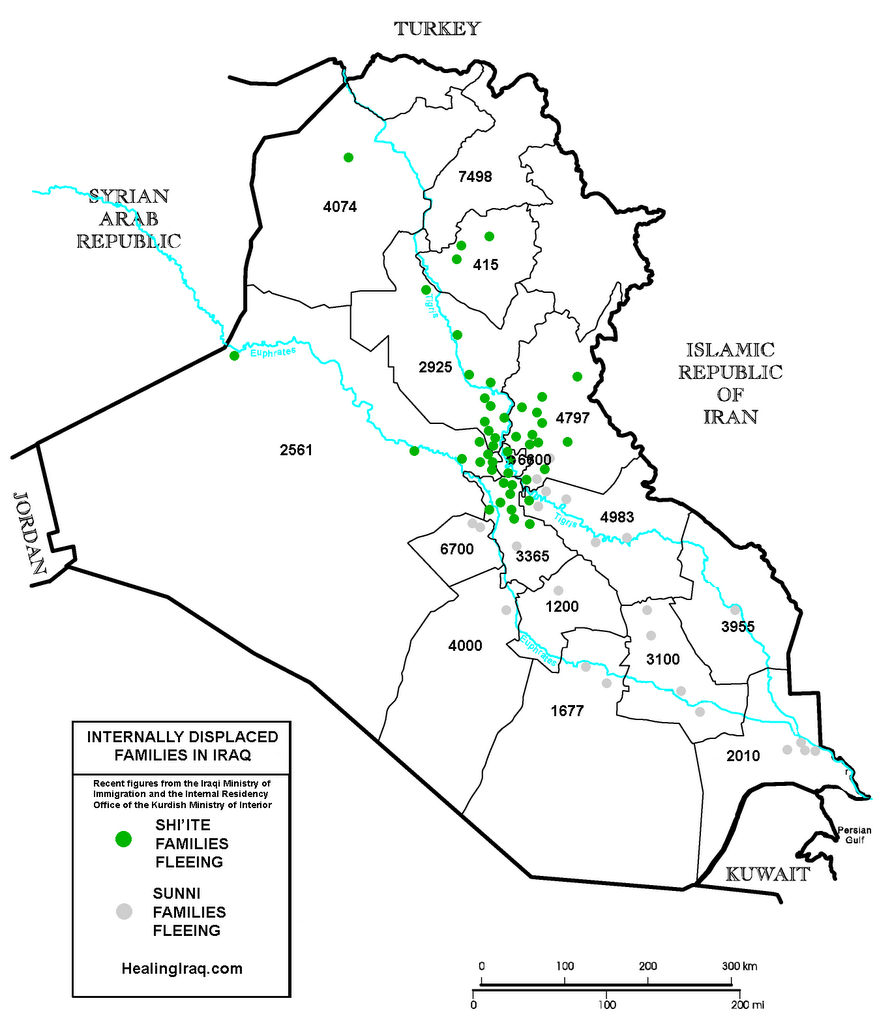 Internally displaced families in Iraq, October 2006