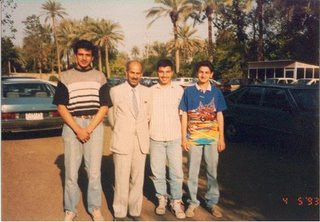 Fadhil Al-Dulaimi with students at the Baghdad College Preparatory School in Baghdad