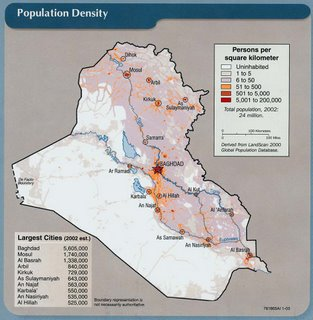 Population density in Iraq