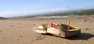 Uma oferenda colocada na praia. (em quantas n�s pisamos..?..)