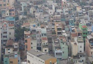 foto aerea de uma area do centro de Ho Chi Minh, Saigon, no Vietnam.