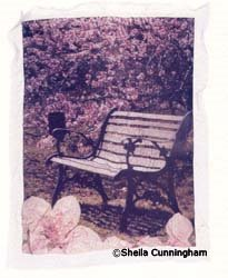 Ozark Bench Collage With Flowers, Emulsion Lift