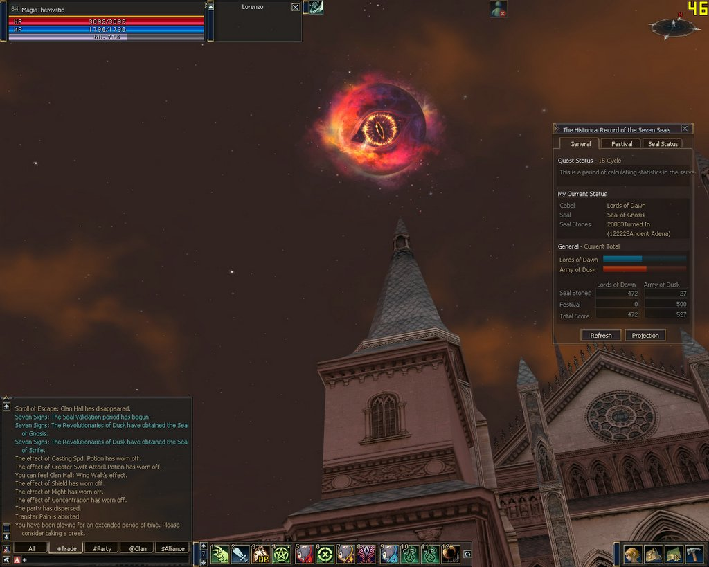 For the first time since I returned to Lineage 2 in Chronicle 3, Dusk won the 7 signs event. Red sky, Lord of the Rings style moon. The whole enchalada!