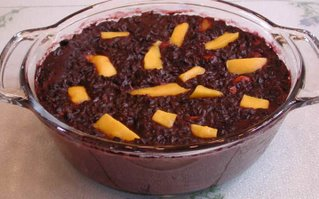 Black Sticky Rice Pudding with Banana and Mango