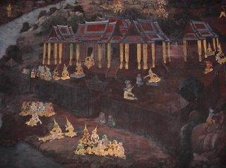 Painting inside Wat Phra Kaew, Bangkok, Thaland