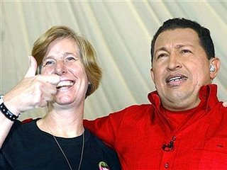 Cindy Sheehan sucks up to Hugo The Huge Chavez. http//markinmexico.blogspot.com/ Mark in Mexico, moderate to conservative opinion on news politics government and current events. News and opinion on Mexico.