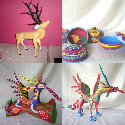 Oaxaca Pale Horse Galleries art crafts gifts and collectibles from Mexican indigenous artists and artisans alebrijes wood carvings ceramics textiles http://palehorsegalleries.vstore.ca/ Eloy Pinos López and Elva Ojeda of Arrazola Xoxocotlan, Oaxaca, Mexico