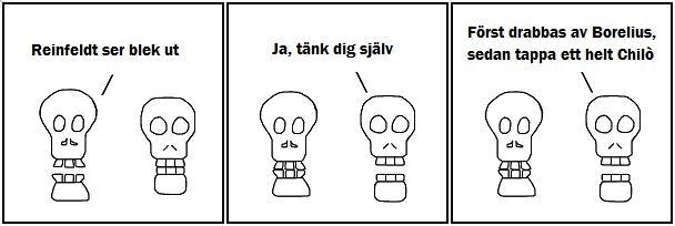 Reinfeldt ser blek ut; Ja, tänk dig själv; Först drabbas av Borelius och sedan tappa ett helt Chilò