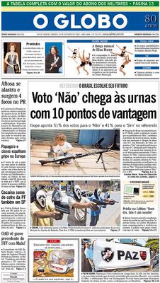 Front Page of Saturday's Globo, the paper of record in Brazil