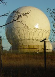 A radome at RAF Menwith Hill, a site with satellite downlink capabilities used by ECHELON.