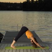 yoga training on the lake