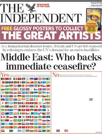 The cover of the Independent newspapaer 21-july-2006