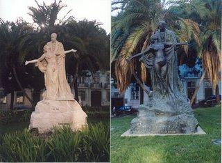 Estàtua d'Eça de Queirós a Lisboa: esquerra, 2000; dreta, 2002