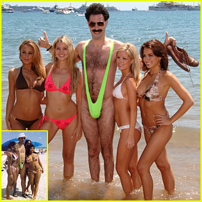 if you are familiar with da ali g show on hbo you will recognize this photo as cohen u0027s character borat the crazy kazakh at his film u0027s screening in cannes  starspangledhaggis  banana hammock brought to you by borat  rh   starspangledhaggis blogspot