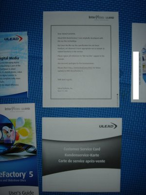 The Blu-ray notice and the tech support card