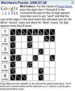 Google puzzles july 2006 - Kakuro cross sums combinations table ...