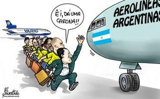 Na charge do Sinfrônio (Diário do Nordeste - CE), a diferença do Brasil pra Argentina: um dia