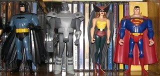 Batman, Aço, Mulher-Gavião e Superman