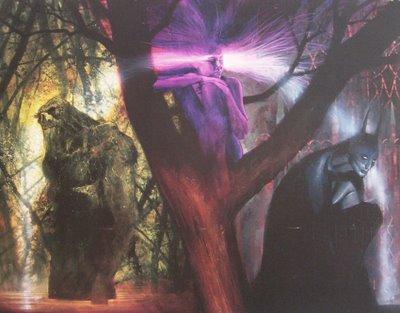 Monstro do Pântano, Orquídea Negra e Batman juntos, no traço de Dave McKean