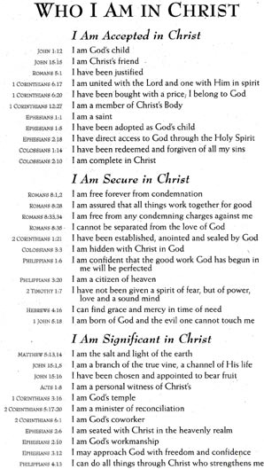Remarkable image pertaining to who i am in christ printable bookmark