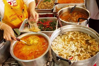 Yes, it's all Vegetarian Food - and that's my Massaman curry being scooped into a bag