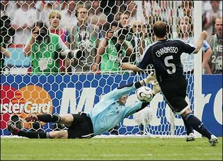Lehmann Saves, Germany Win. Photo from BBC SPORT
