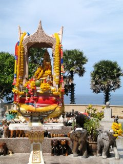 Elephant shrine and view over the Andaman Sea to the west of Phuket