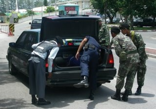 Car being searched at Phuket International Airport, 20th September