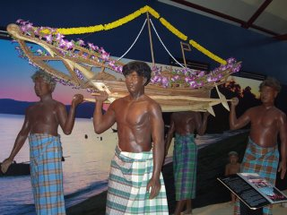 Diorama of sea gypsy boat floating ceremony