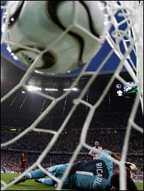 Zidane scores against Portugal, World Cup 2006 - photo from BBC Sport