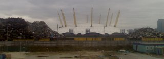 Three piles of scrap- The Millennium Dome is the one in the middle