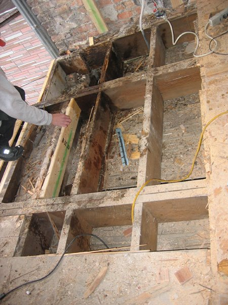 how to cut subfloor along wall from below