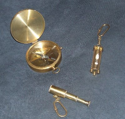 3 Piece Compass Hourglass and Spyglass Brass Set