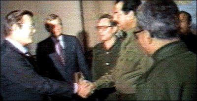 Donald Rumsfeld meets Saddam Hussein Dec. 20, 1983