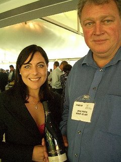 Riebeek's Winemaker Zakkie Bester with marketing manager Mareli Viljoen