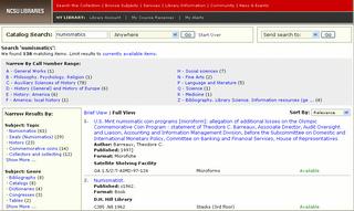 Copie d'écran - Catalogue des bibliothèques de la NCSU