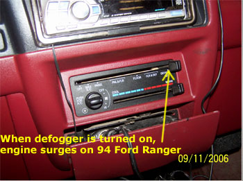 1994 Ford Ranger Engine Surges When AC Defogger Is Tuned On: No Codes