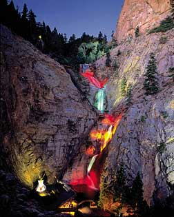 Seven Falls Colorado Springs At Night