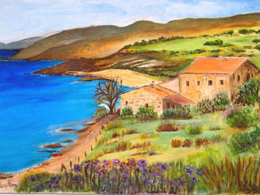 Tableau peinture corse paysage for Paysage peinture
