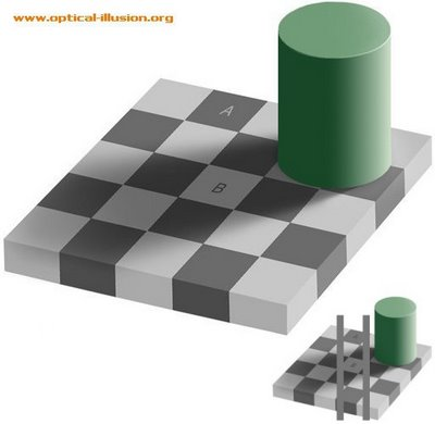 A and B Squares Illusion