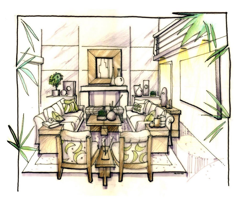 MANUAL RENDERING. Conceptual interior perspective for the living room  title=