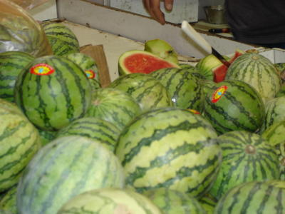 Personal-size watermelons at the open-air vegetable market in downtown Jerusalem