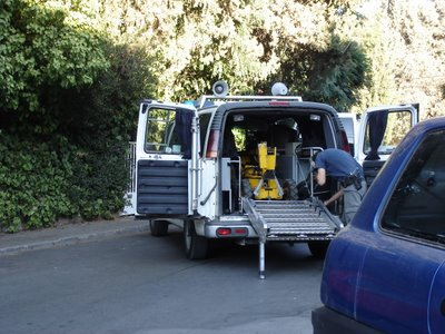 Sapper robot inside police van