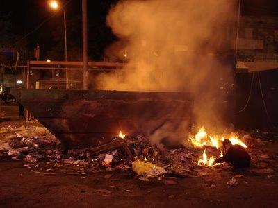 Trash bin fire