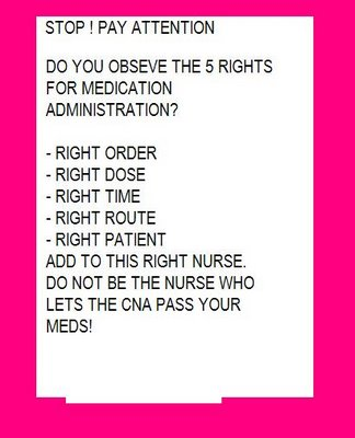 10 Rights Medication Administration http://dearnurses.blogspot.com/2006/11/medication-administration.html