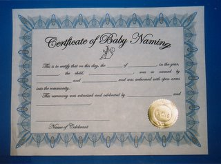 Baby Naming Certificates