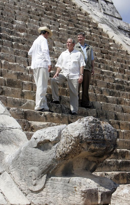 President George W. Bush stands with President Vicente Fox of Mexico, left, and Canada's Prime Minister Stephen Harper, during a visit Thursday, March 30, 2006, to the Chichen-Itza Archaeological Ruins. White House photo by Kimberlee Hewitt.